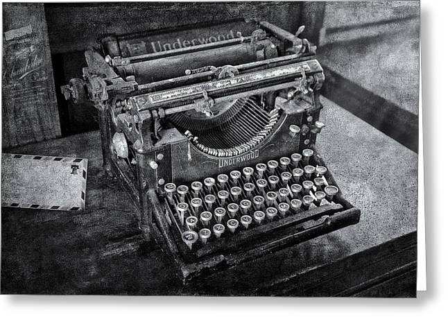 Old Fashioned Underwood Typewriter Bw Greeting Card by Susan Candelario