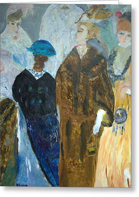 Greeting Card featuring the painting Old Fashioned Women by Aleezah Selinger