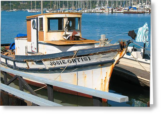 Old Fishing Boat In Sausalito Greeting Card