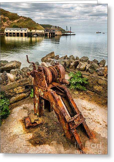 Old Fishing Port Greeting Card by Adrian Evans