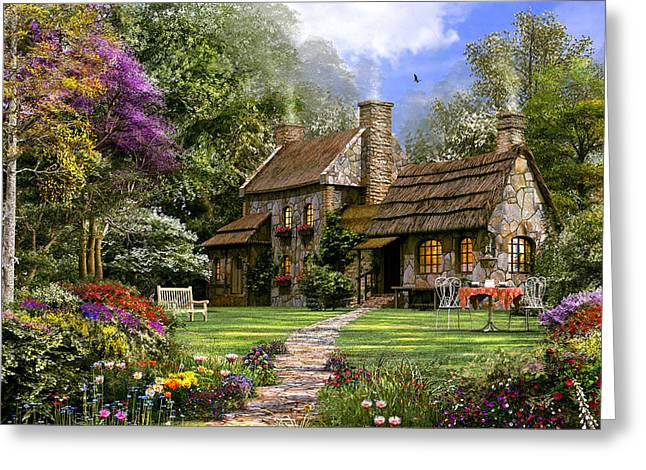 Old Flint Cottage Greeting Card by Dominic Davison
