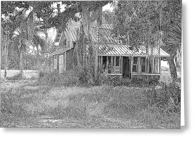 Old Florida House Pencil Greeting Card by Ronald T Williams