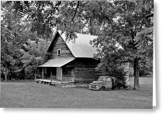 Old Ford And Cabin Greeting Card by Bob Jackson