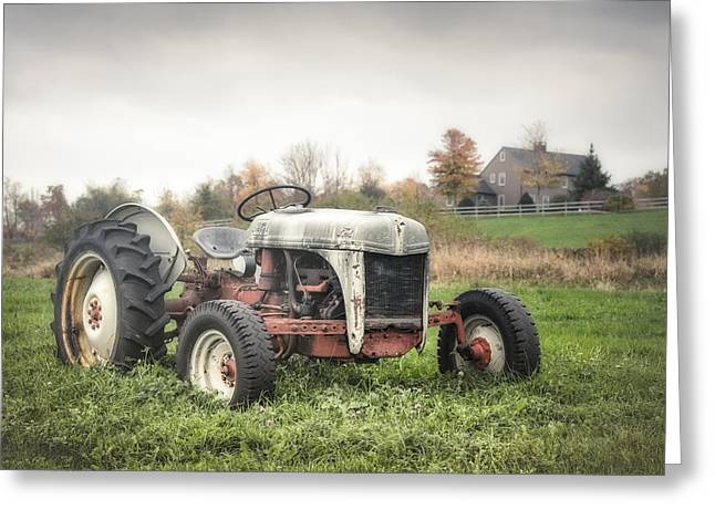 Old Ford Tractor And Farm House Greeting Card by Gary Heller