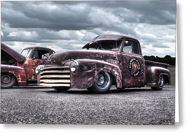 Old Friends - Vintage Chevrolets Greeting Card by Gill Billington