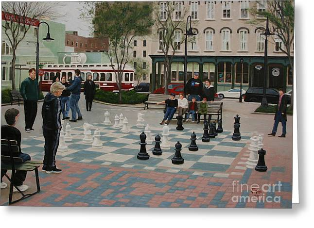 Old Galveston Square Greeting Card by Jimmie Bartlett