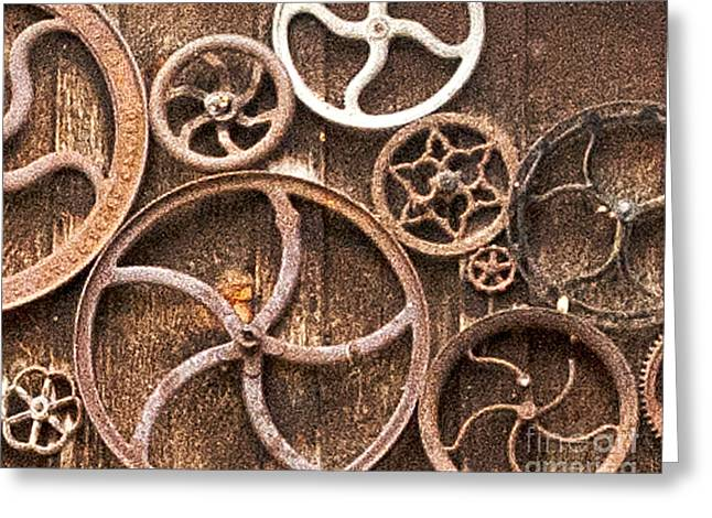Old Gears In Genoa Nevada Greeting Card by Artist and Photographer Laura Wrede