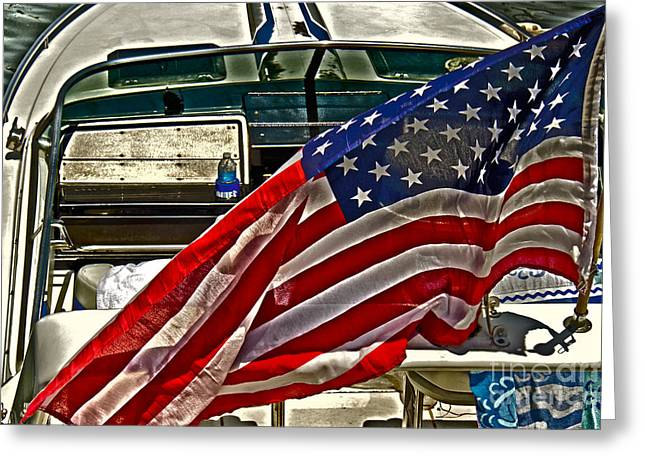 Old Glory And The Bay Greeting Card by Tom Gari Gallery-Three-Photography