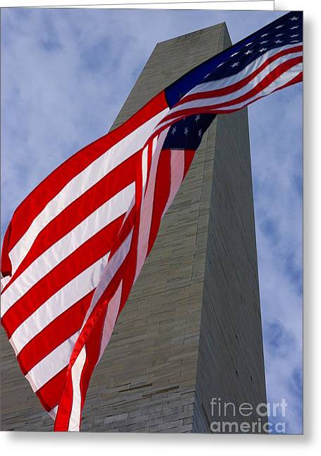 Greeting Card featuring the photograph Old Glory And The Washington Monument by John S