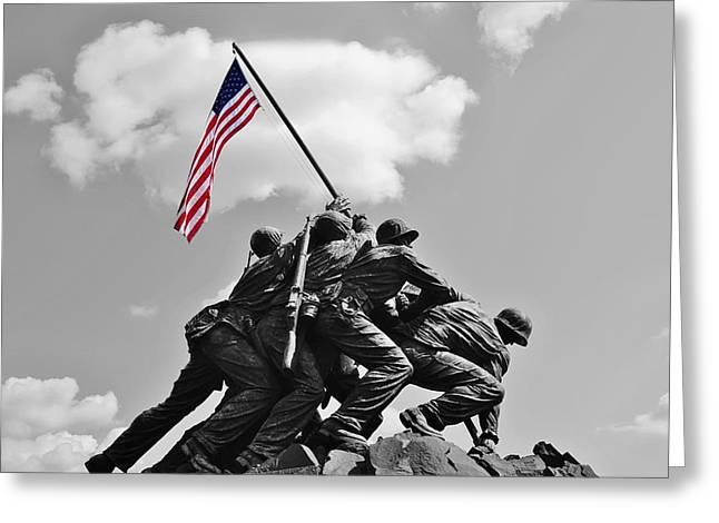 Old Glory At Iwo Jima Greeting Card