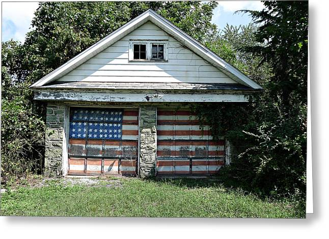 Old Glory Garage  Greeting Card by Richard Reeve