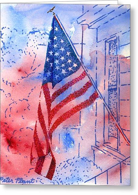 Old Glory In The Neighborhood Greeting Card by Peter Plant