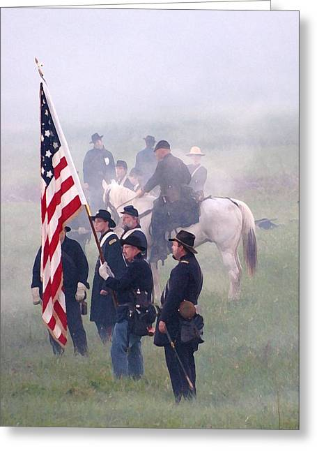 Old Glory Lifted Up - Perryville Ky Greeting Card by Thia Stover