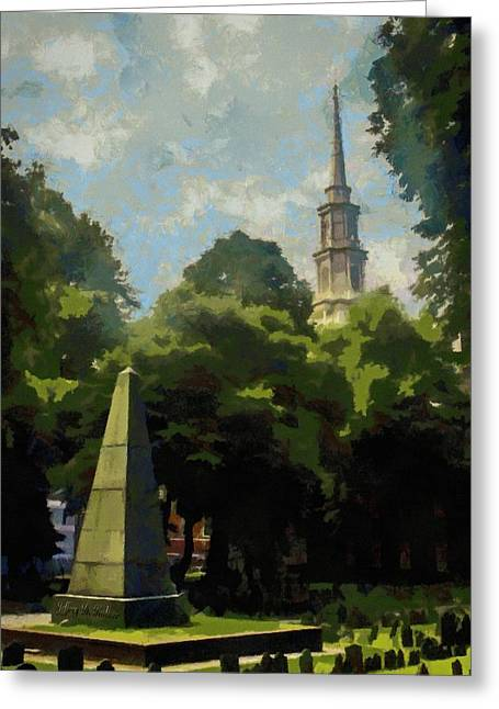 Greeting Card featuring the painting Old Granery Burying Ground by Jeff Kolker