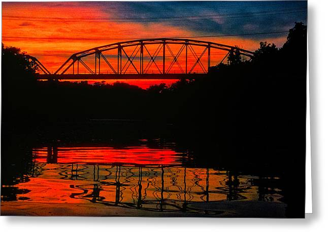 Old Gravois Bridge Silhoutte Greeting Card