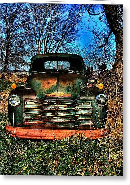 Old Green Chevy Greeting Card by Julie Dant