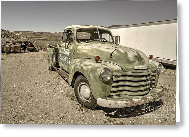 Old Green Chevy  Greeting Card by Rob Hawkins