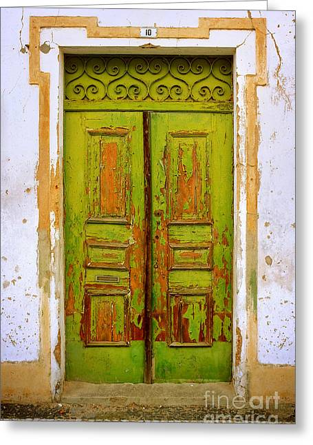 Old Green Door Greeting Card by Carlos Caetano