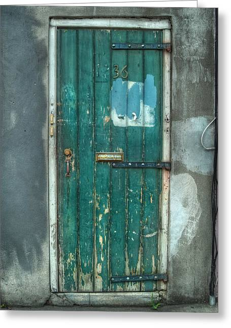 Old Green Door In Quarter Greeting Card by Brenda Bryant