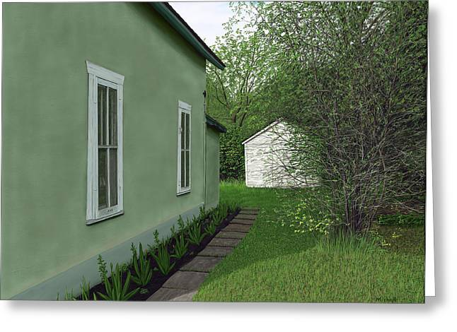 Old Green House Greeting Card by Michelle Moroz-Chymy