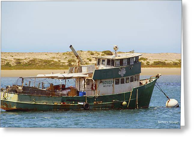 Old Green Scow Morro Bay Harbor Greeting Card