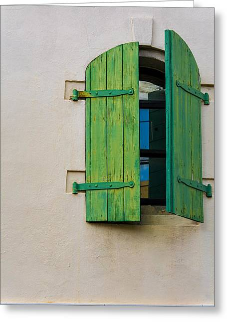 Old Green Shuttered Window Greeting Card