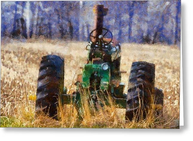 Old Green Tractor On The Farm Greeting Card by Dan Sproul