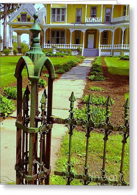 Greeting Card featuring the photograph Old Green Wrought Iron Gate by Becky Lupe