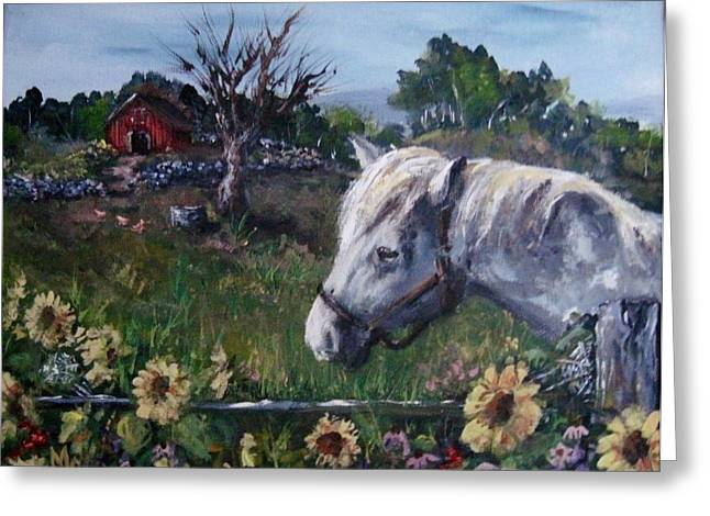 Greeting Card featuring the painting Old Grey Mare by Megan Walsh
