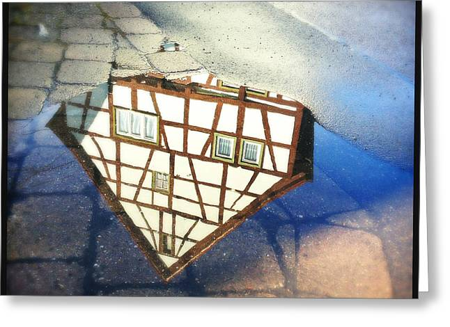 Old Half-timber House Upside Down - Water Reflection Greeting Card