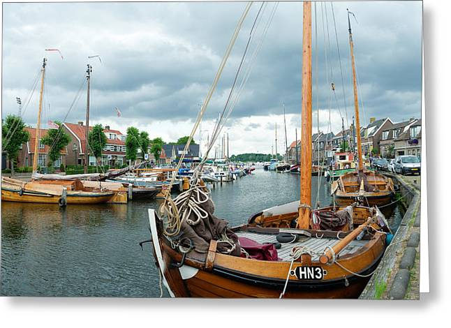 Old Harbor Greeting Card by Hans Engbers