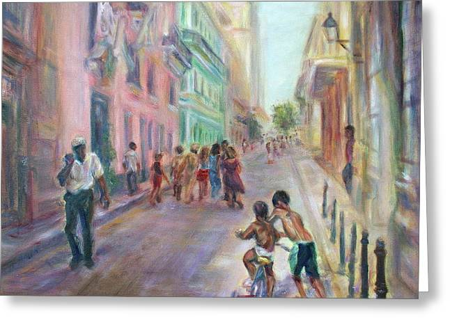 Old Havana Street Life - Sale - Large Scenic Cityscape Painting Greeting Card