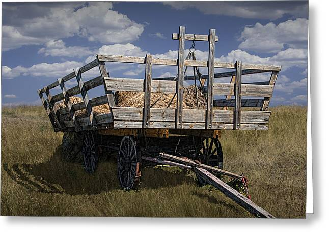 Old Hay Wagon In The Prairie Grass Greeting Card