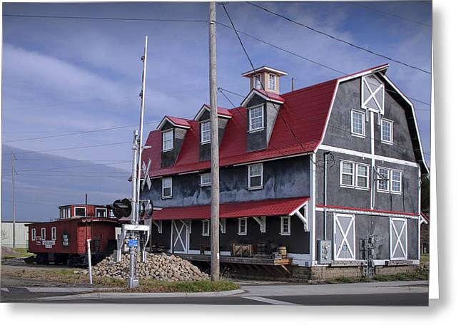 Old Historical Railroad Train Station With Red Caboose In West Michigan Greeting Card by Randall Nyhof
