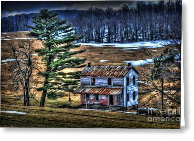 Old Home Place Beside Pine Tree Greeting Card by Dan Friend