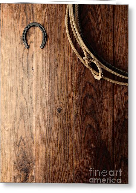 Old Horseshoe And Lariat Greeting Card by Olivier Le Queinec