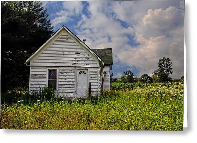 Old House And Flowers Greeting Card