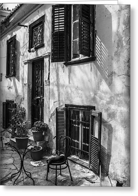 Old House Black And White Greeting Card