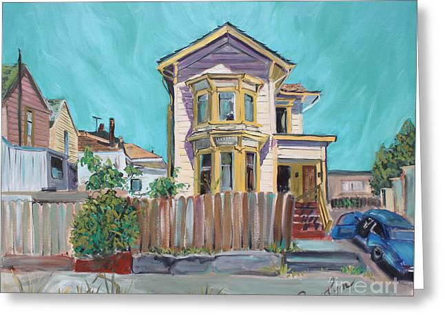 Old House In East Oakland Greeting Card by Asha Carolyn Young