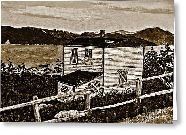 Old House In Sepia Greeting Card