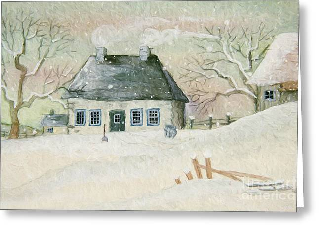 Old House In The Snow/ Painted Digitally Greeting Card by Sandra Cunningham