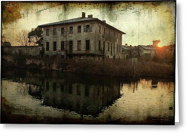 Old House On Canal Greeting Card