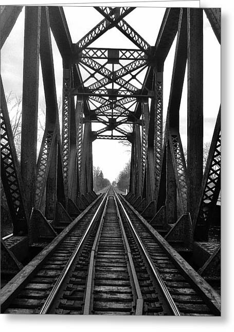 Old Huron River Rxr Bridge Black And White  Greeting Card