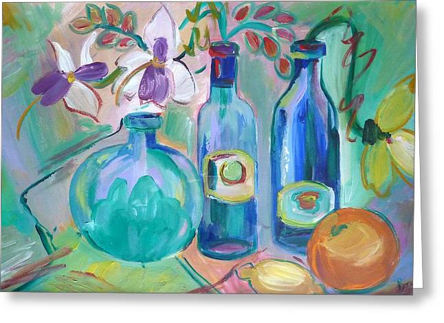 Old Hyacinth Bottle Greeting Card by Brenda Ruark