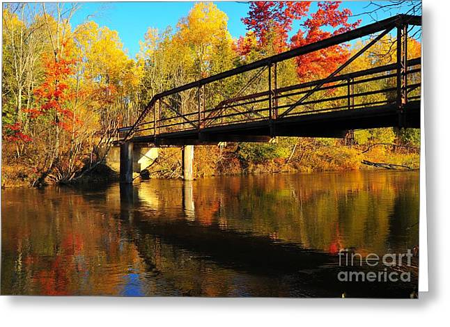 Historic Harvey Bridge Over Manistee River In Wexford County Michigan Greeting Card by Terri Gostola