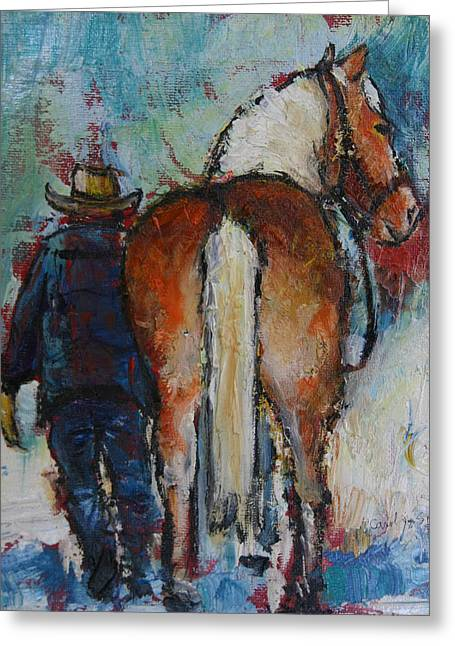 Old Jake And Horse Greeting Card