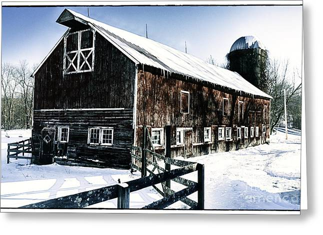 Old Jersey Farm In Winter Greeting Card by George Oze