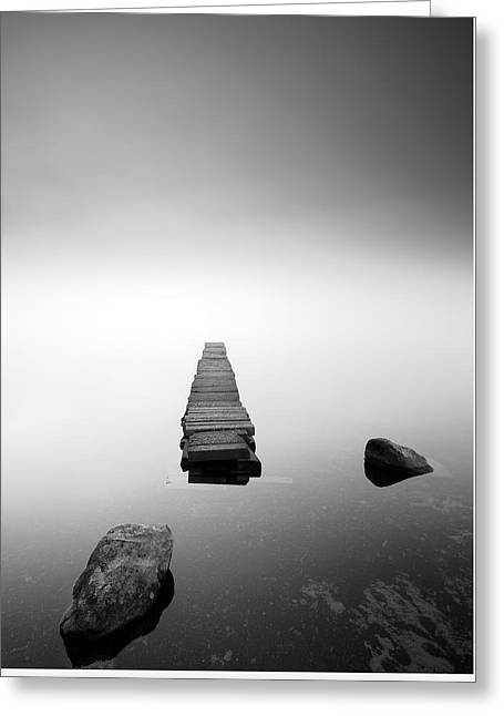 Old Jetty In The Mist Greeting Card by Grant Glendinning