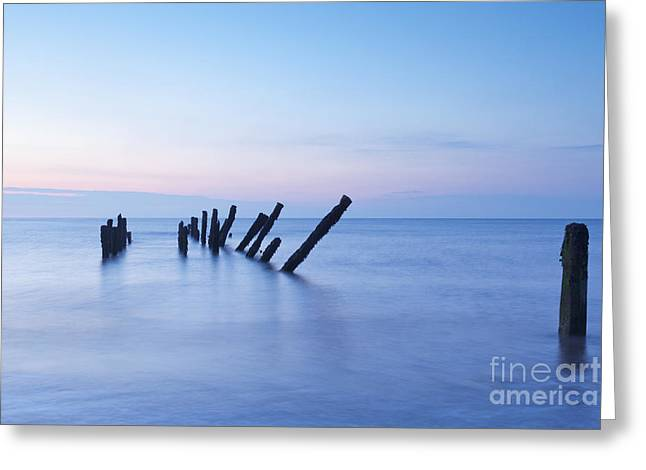 Old Jetty Posts At Sunrise Greeting Card by Colin and Linda McKie