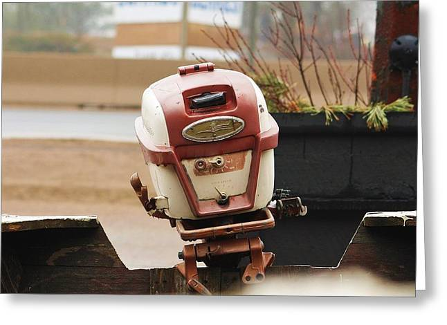 Old Johnson Outboard Greeting Card by Al Fritz